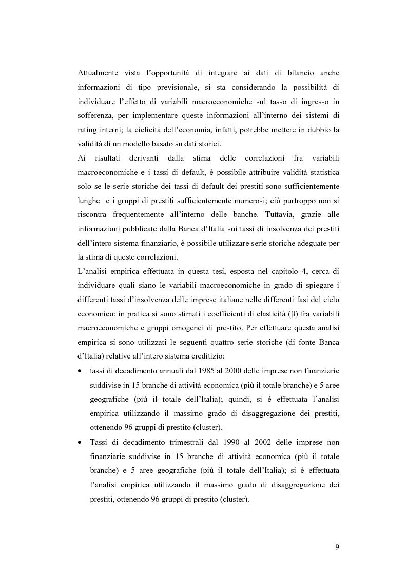 Anteprima della tesi: Ciclicità dell'economia e Rischio di Credito: una verifica empirica sul periodo 1985-2002, Pagina 4