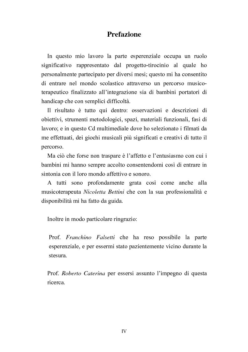 Anteprima della tesi: Progetti didattico-educativi al suono in alcune scuole elementari dell'Emilia Romagna, Pagina 1