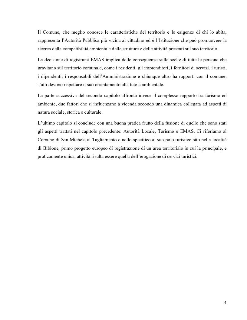 Anteprima della tesi: Il Regolamento Emas II e la certificazione ambientale territoriale applicata al turismo: Il Polo Turistico di Bibione – San Michele al Tagliamento, Pagina 2