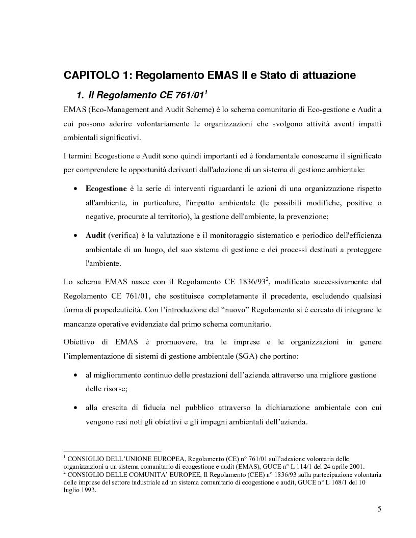 Anteprima della tesi: Il Regolamento Emas II e la certificazione ambientale territoriale applicata al turismo: Il Polo Turistico di Bibione – San Michele al Tagliamento, Pagina 3