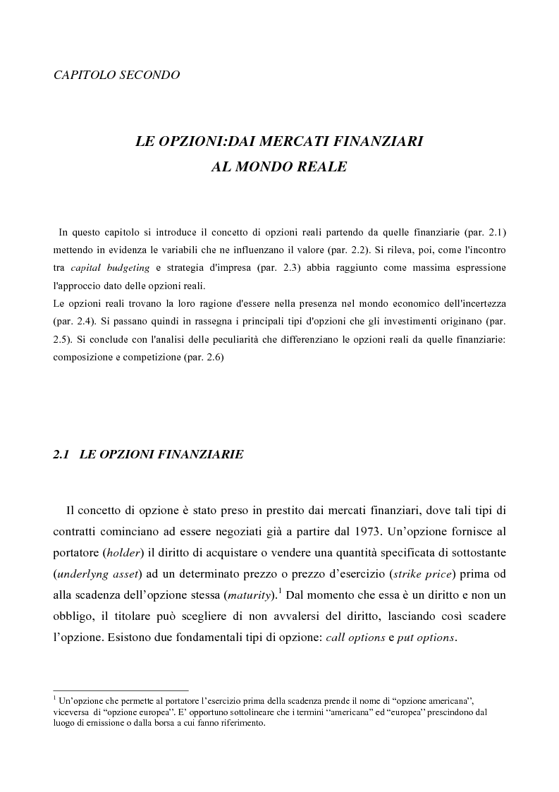 Anteprima della tesi: Le opzioni reali nelle problematiche di gestione, Pagina 1