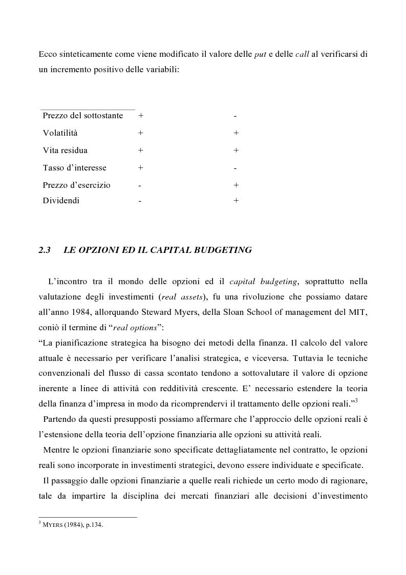 Anteprima della tesi: Le opzioni reali nelle problematiche di gestione, Pagina 5