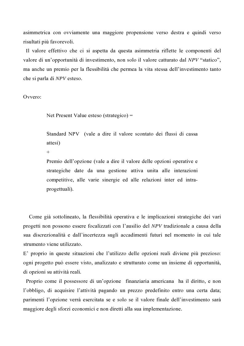 Anteprima della tesi: Le opzioni reali nelle problematiche di gestione, Pagina 7