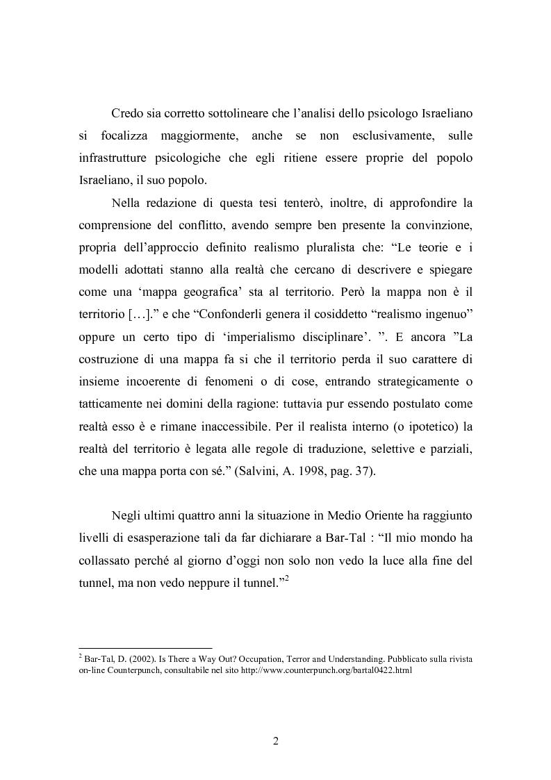 Anteprima della tesi: Il conflitto Israelo-Palestinese: la prospettiva psicologica di Daniel Bar-Tal, Pagina 2