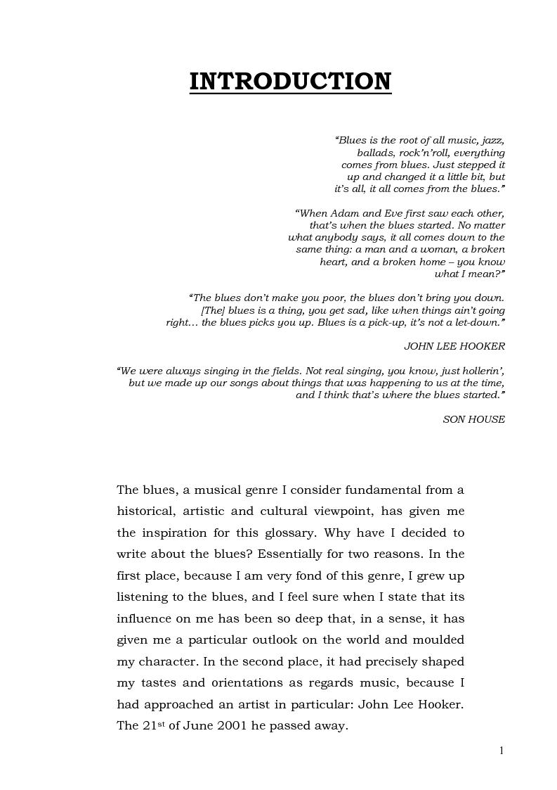 Anteprima della tesi: The Blues Tree - l'Albero del Blues, Pagina 1