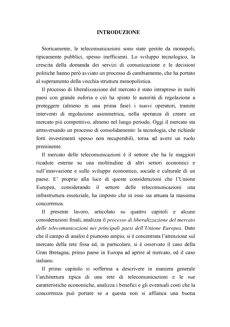 Anteprima della tesi: Liberalizzazione del mercato delle telecomunicazioni: evoluzione e andamento dei prezzi, Pagina 1