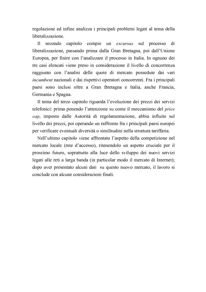 Anteprima della tesi: Liberalizzazione del mercato delle telecomunicazioni: evoluzione e andamento dei prezzi, Pagina 2