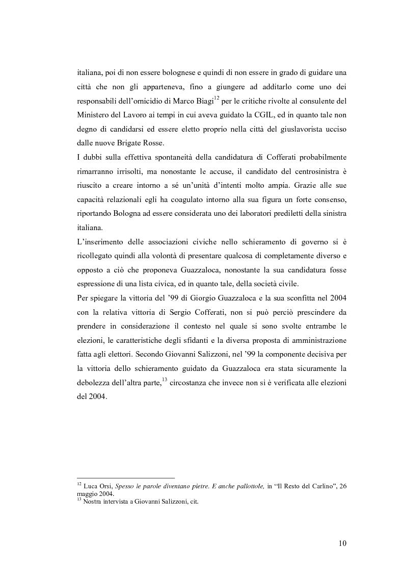 Anteprima della tesi: Le strategie comunicative nella campagna elettorale di Bologna 2004: Giorgio Guazzaloca e Sergio Cofferati a confronto, Pagina 10