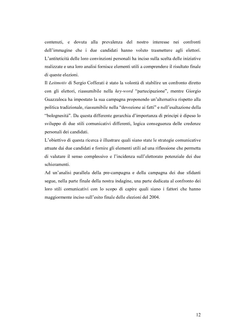 Anteprima della tesi: Le strategie comunicative nella campagna elettorale di Bologna 2004: Giorgio Guazzaloca e Sergio Cofferati a confronto, Pagina 12