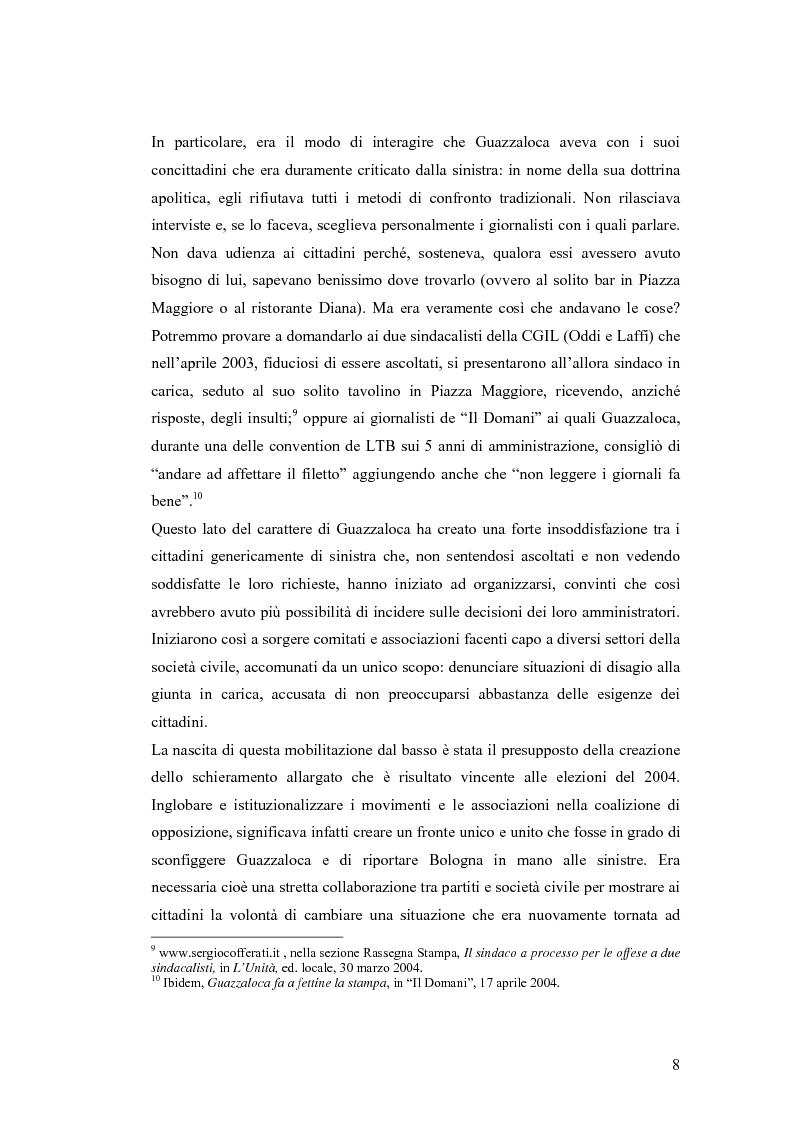 Anteprima della tesi: Le strategie comunicative nella campagna elettorale di Bologna 2004: Giorgio Guazzaloca e Sergio Cofferati a confronto, Pagina 8