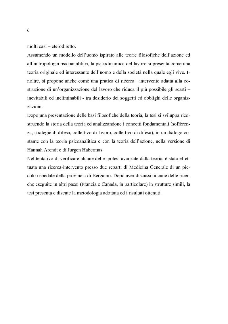 Anteprima della tesi: Analisi psicodinamica delle situazioni di lavoro: uno studio di caso presso un ospedale della provincia di Bergamo, Pagina 2