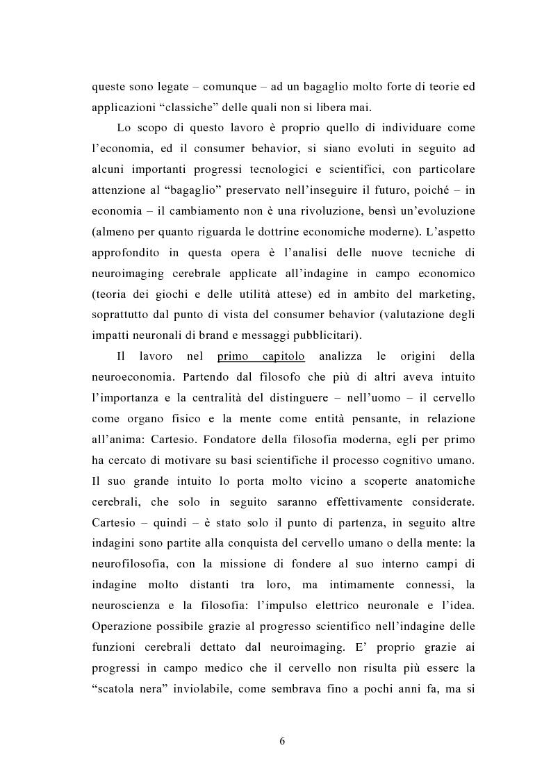 Anteprima della tesi: La neuroeconomia ed il neuromarketing: analisi, valutazioni ed applicazioni., Pagina 3