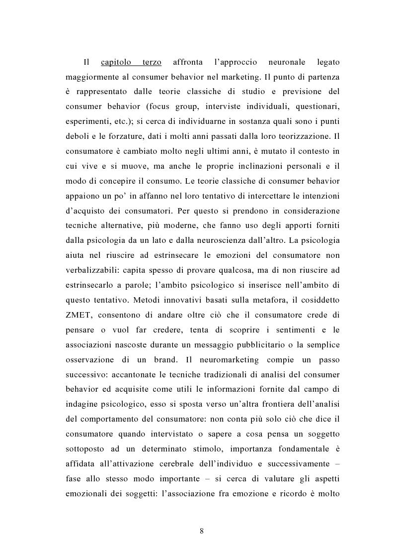 Anteprima della tesi: La neuroeconomia ed il neuromarketing: analisi, valutazioni ed applicazioni., Pagina 5
