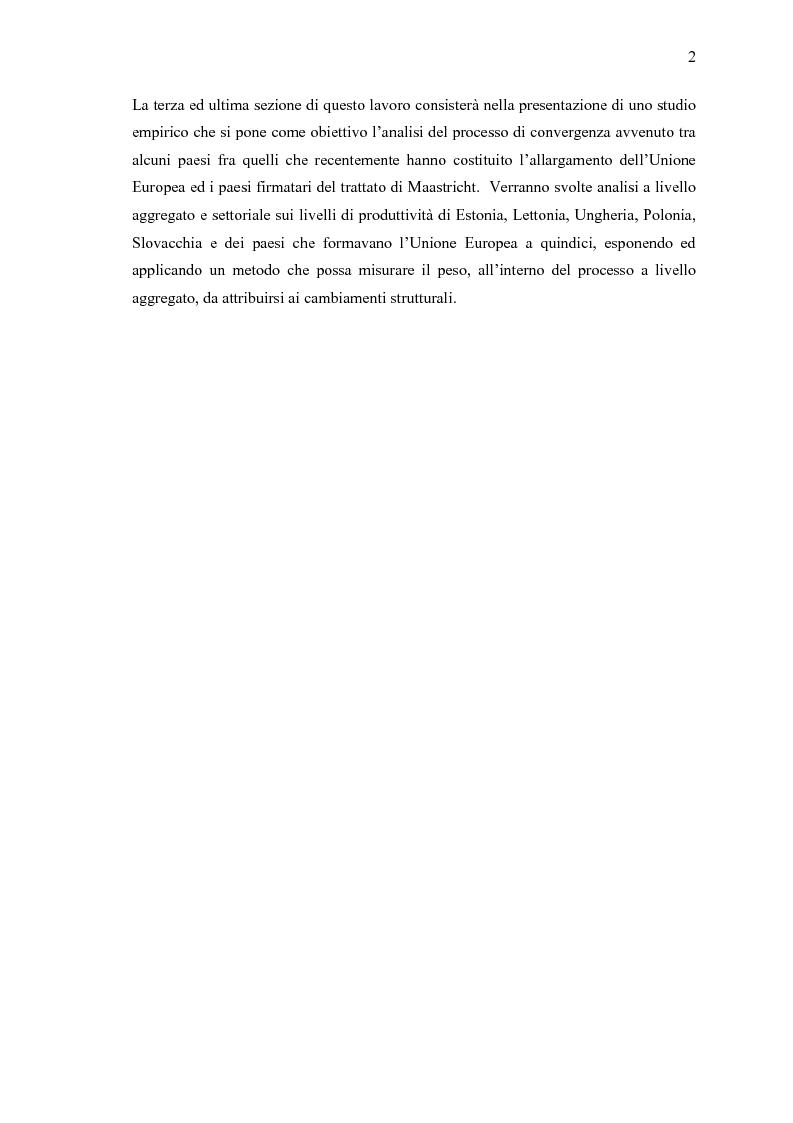 Anteprima della tesi: Convergenza e cambiamento strutturale. Teoria ed evidenza empirica per i paesi dell'est Europa, Pagina 2