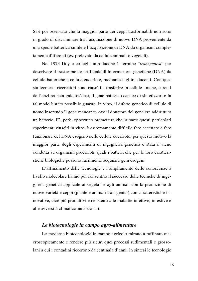 Anteprima della tesi: Il contributo delle biotecnologie avanzate in agricoltura: qualità, sicurezza e mercato degli Organismi Geneticamente Modificati, Pagina 11