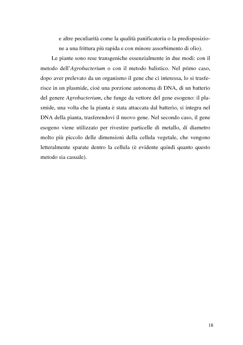 Anteprima della tesi: Il contributo delle biotecnologie avanzate in agricoltura: qualità, sicurezza e mercato degli Organismi Geneticamente Modificati, Pagina 13