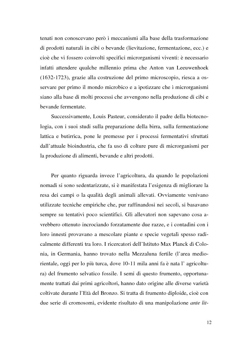 Anteprima della tesi: Il contributo delle biotecnologie avanzate in agricoltura: qualità, sicurezza e mercato degli Organismi Geneticamente Modificati, Pagina 7