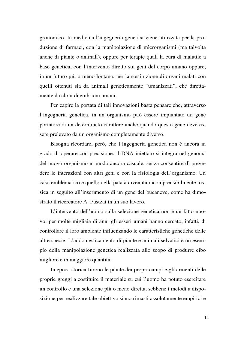 Anteprima della tesi: Il contributo delle biotecnologie avanzate in agricoltura: qualità, sicurezza e mercato degli Organismi Geneticamente Modificati, Pagina 9