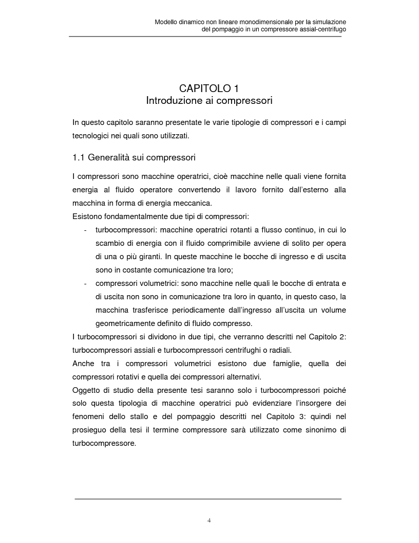 Anteprima della tesi: Modello dinamico non lineare per la simulazione del pompaggio in un compressore assial-centrifugo, Pagina 3
