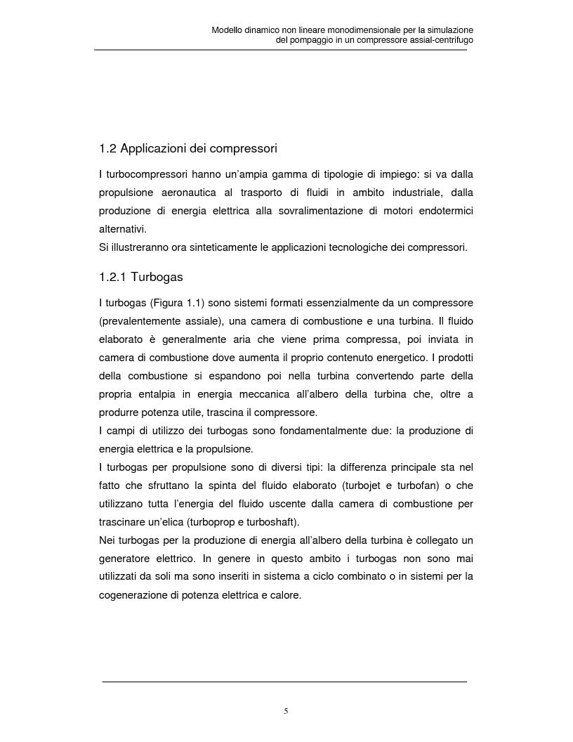 Anteprima della tesi: Modello dinamico non lineare per la simulazione del pompaggio in un compressore assial-centrifugo, Pagina 4