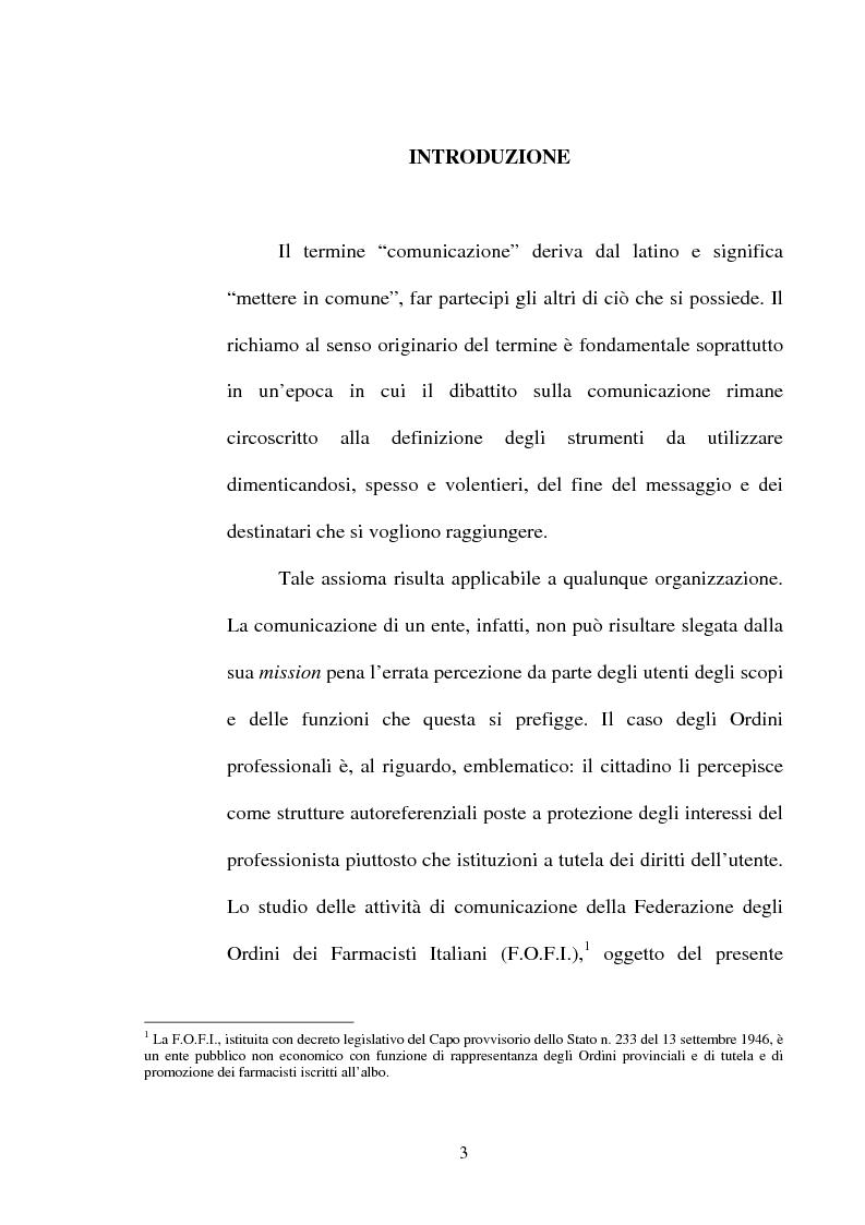 Anteprima della tesi: Comunicazione pubblica e Ordini professionali, Pagina 1