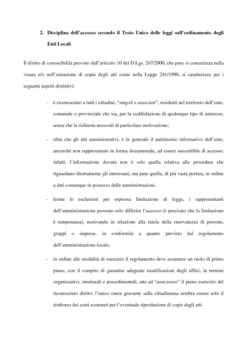 Anteprima della tesi: Il diritto d'accesso negli enti locali, Pagina 2