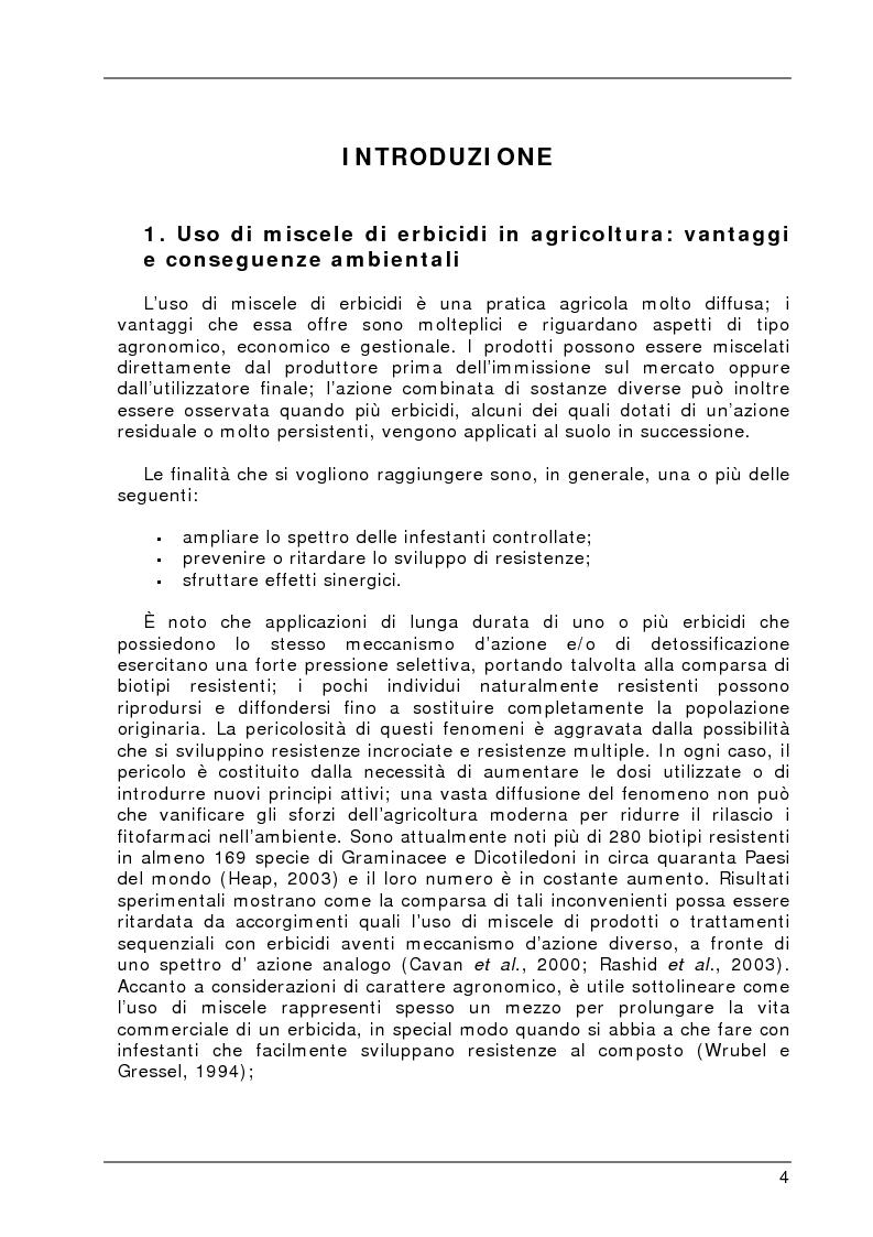 Anteprima della tesi: Degradazione e valutazione degli effetti sui microrganismi di una miscela di erbicidi sulfonilureici, Pagina 1