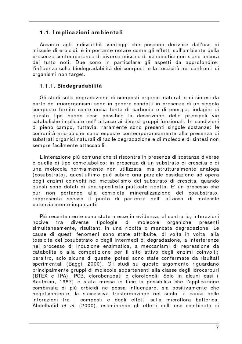 Anteprima della tesi: Degradazione e valutazione degli effetti sui microrganismi di una miscela di erbicidi sulfonilureici, Pagina 4