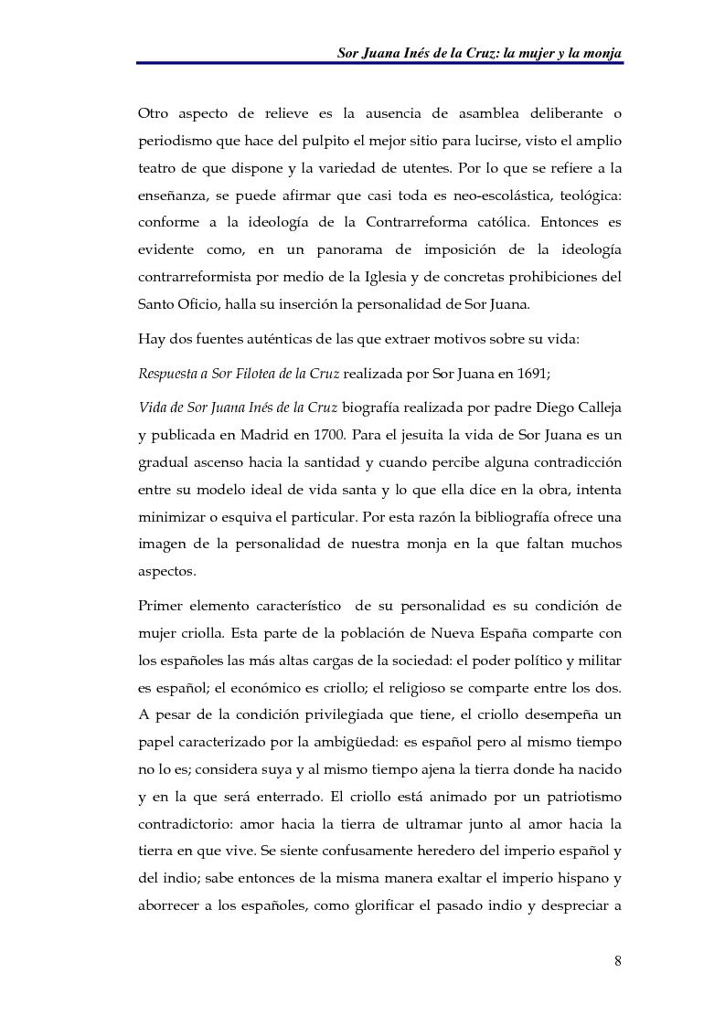 Anteprima della tesi: El sueño nocturno de Sor Juana en la noche ejemplar, Pagina 8