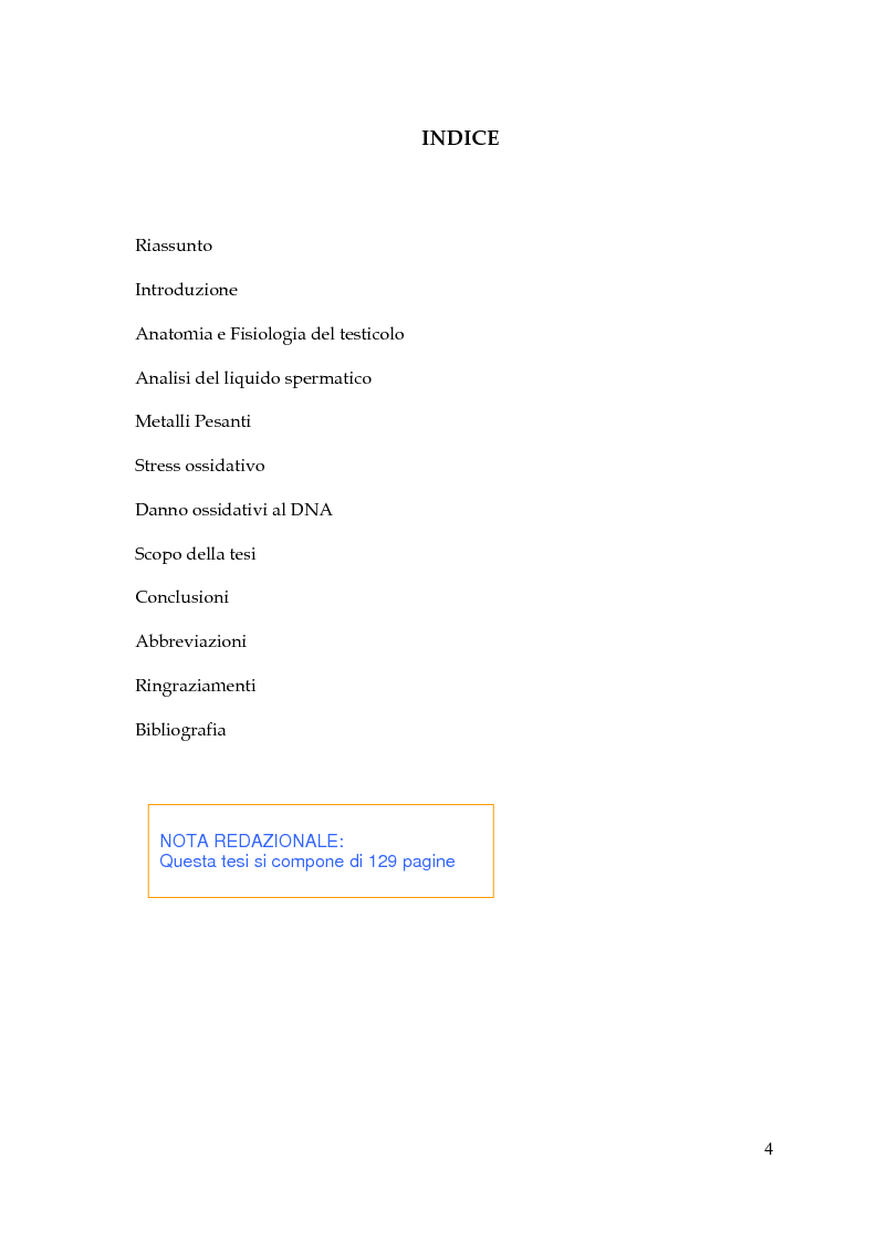 Indice della tesi: Endocrine Disruptors: Fertilità maschile e Metalli pesanti, Pagina 1
