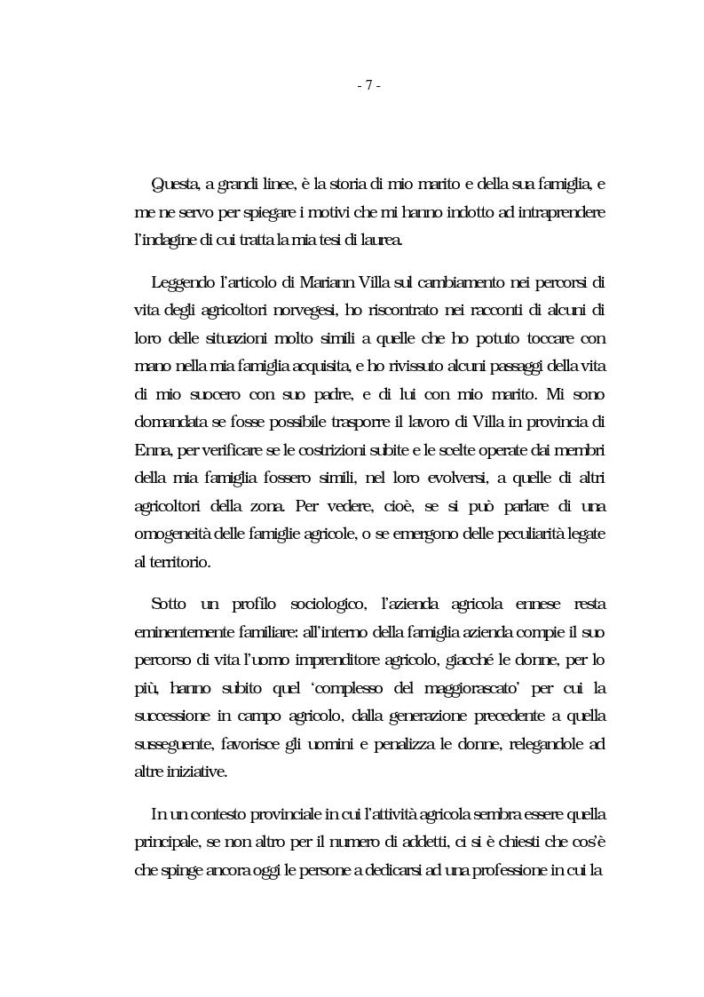 Anteprima della tesi: Nati per essere agricoltori? Aspettative in cambiamento nelle famiglie agricole ennesi, Pagina 4