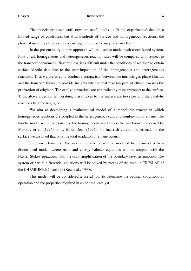 Anteprima della tesi: Oxidative dehydrogenation of ethane in short contact time reactors, Pagina 14
