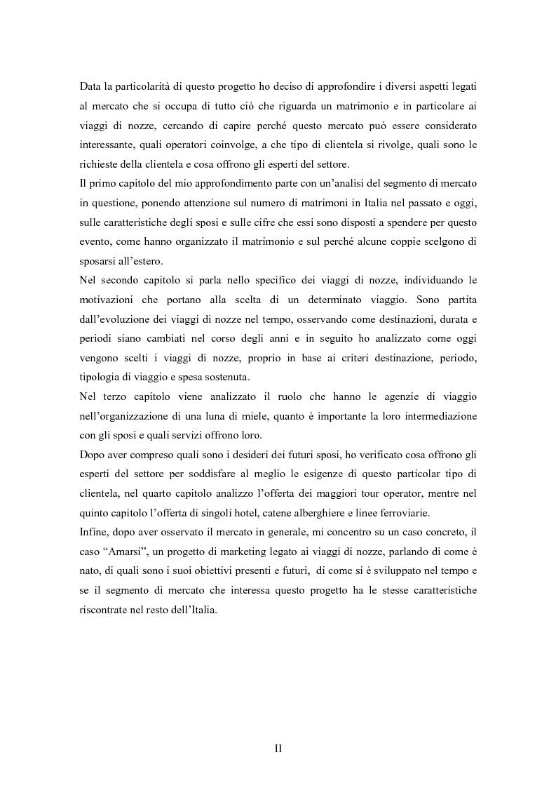 Anteprima della tesi: Sviluppo e prospettive del mercato di nicchia legato ai viaggi di nozze: Il caso ''AMARSI'', Pagina 2