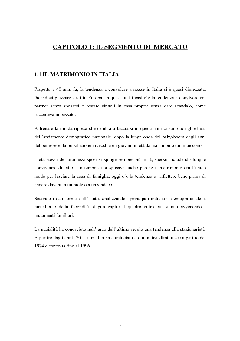 Anteprima della tesi: Sviluppo e prospettive del mercato di nicchia legato ai viaggi di nozze: Il caso ''AMARSI'', Pagina 3