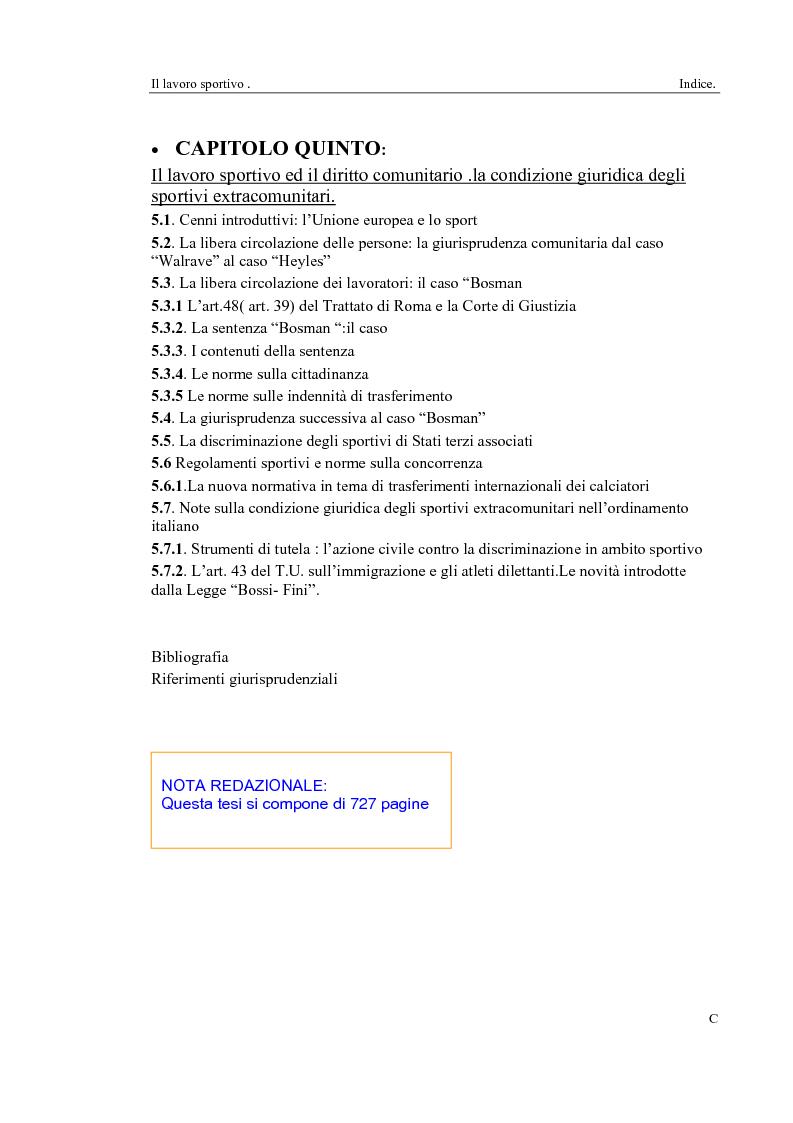 Indice della tesi: Il lavoro sportivo, Pagina 3