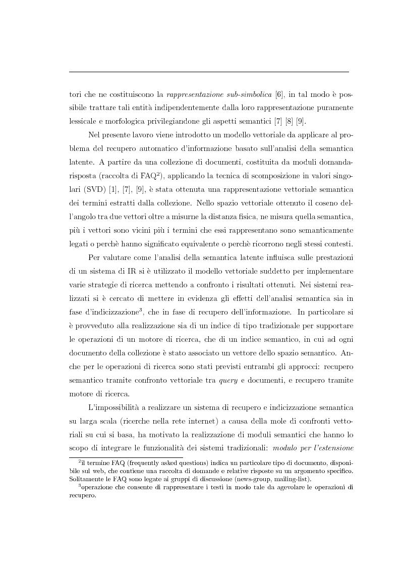 Anteprima della tesi: Analisi della semantica latente per la consultazione automatica di moduli domanda-risposta, Pagina 2