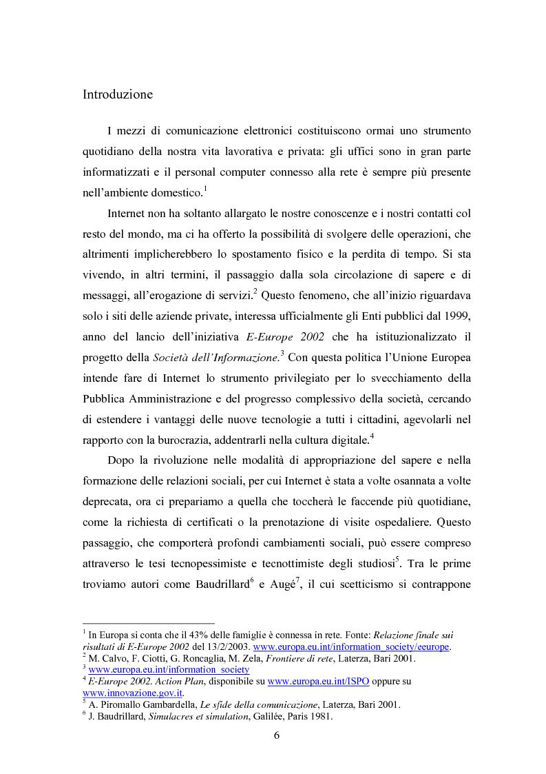 Anteprima della tesi: La società e i nuovi media: il ruolo di intermediazione della Pubblica Amministrazione in rete. Il caso Basilicata, Pagina 1