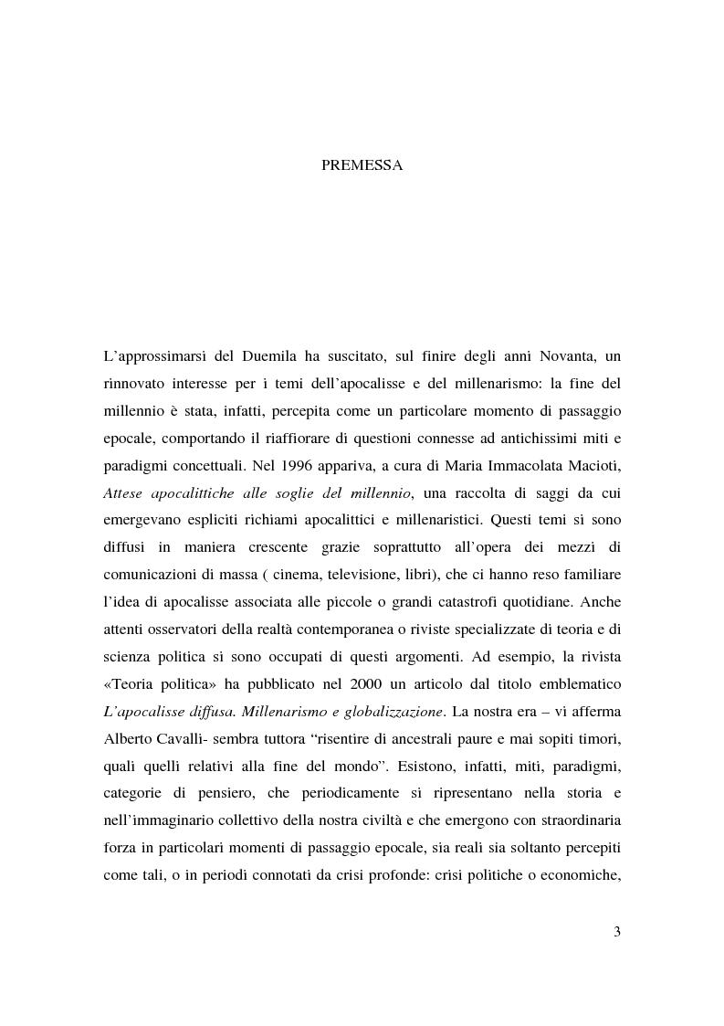Anteprima della tesi: Apocalisse: senso della fine e mondo globale, Pagina 1