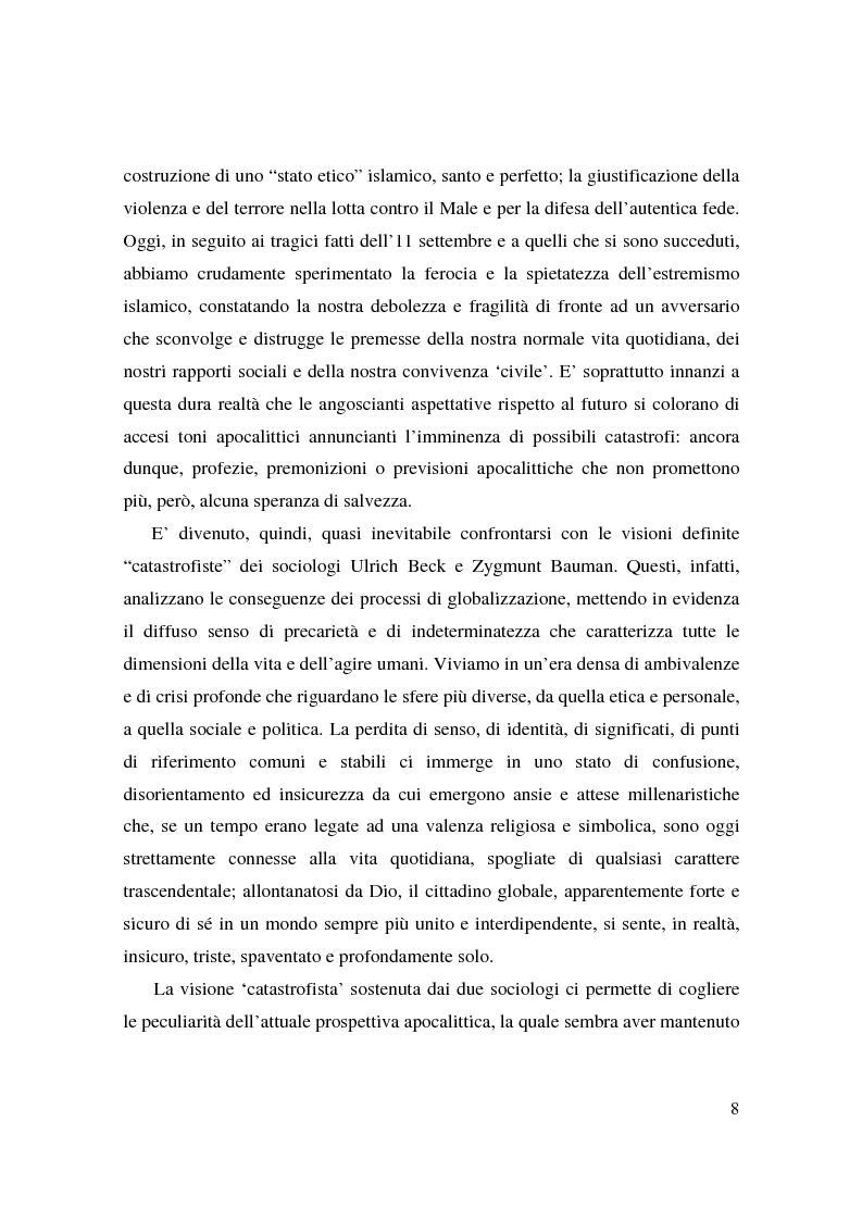 Anteprima della tesi: Apocalisse: senso della fine e mondo globale, Pagina 6