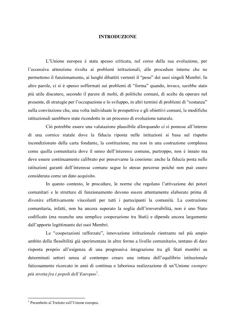 Anteprima della tesi: Le cooperazioni rafforzate dal Trattato di Nizza al Trattato che istituisce una costituzione per l'Europa. La giusta via?, Pagina 1