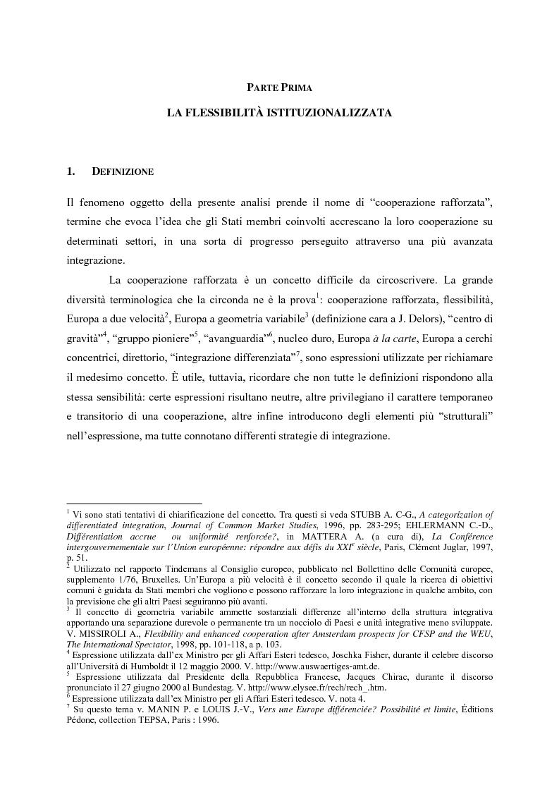 Anteprima della tesi: Le cooperazioni rafforzate dal Trattato di Nizza al Trattato che istituisce una costituzione per l'Europa. La giusta via?, Pagina 4