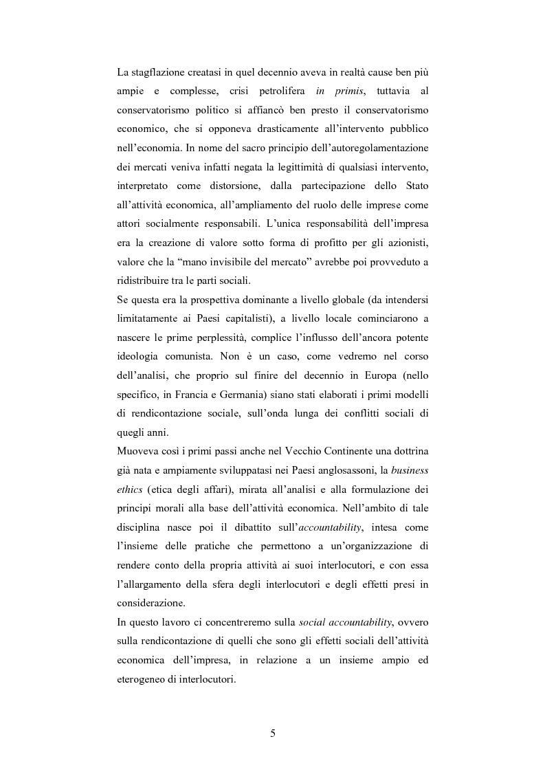 Anteprima della tesi: La responsabilità sociale d'impresa: accountability e modelli di rendicontazione, Pagina 2