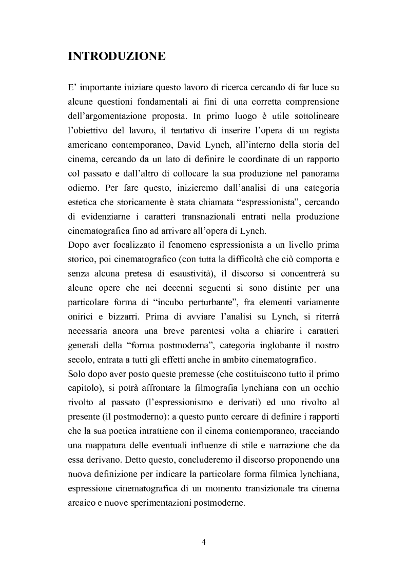 Anteprima della tesi: David Lynch e l'espressionismo postmoderno, Pagina 1
