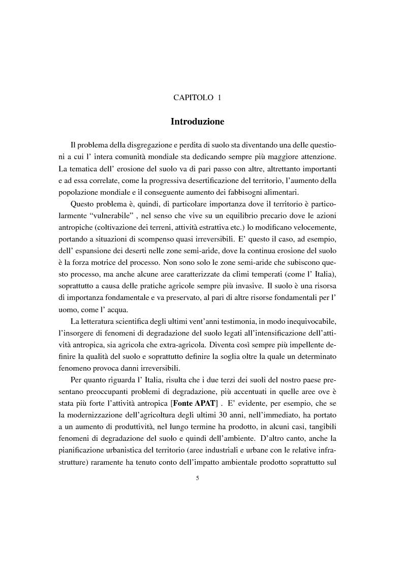 Anteprima della tesi: Analisi e confronti di modelli di erosione del suolo e trasporto di sedimenti tramite l'uso di sistemi GIS, Pagina 1
