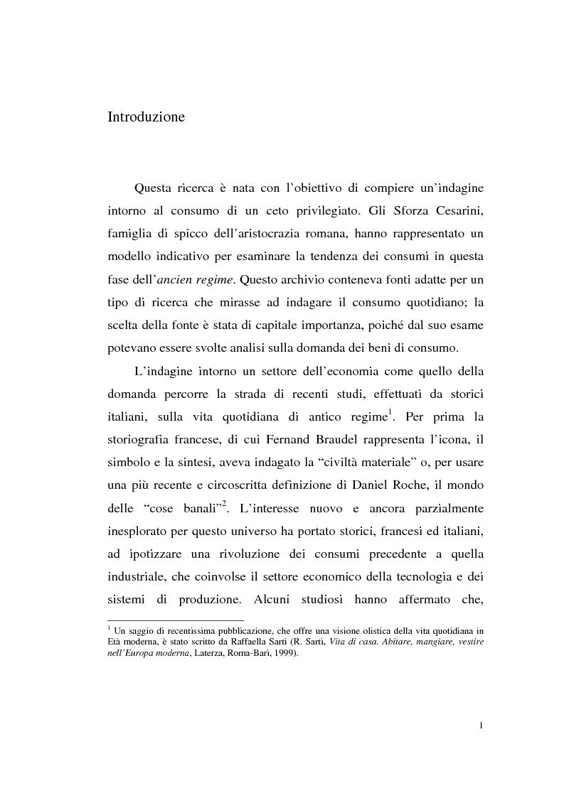 Anteprima della tesi: A tavola e a palazzo: i consumi degli Sforza Cesarini nel Settecento, Pagina 1