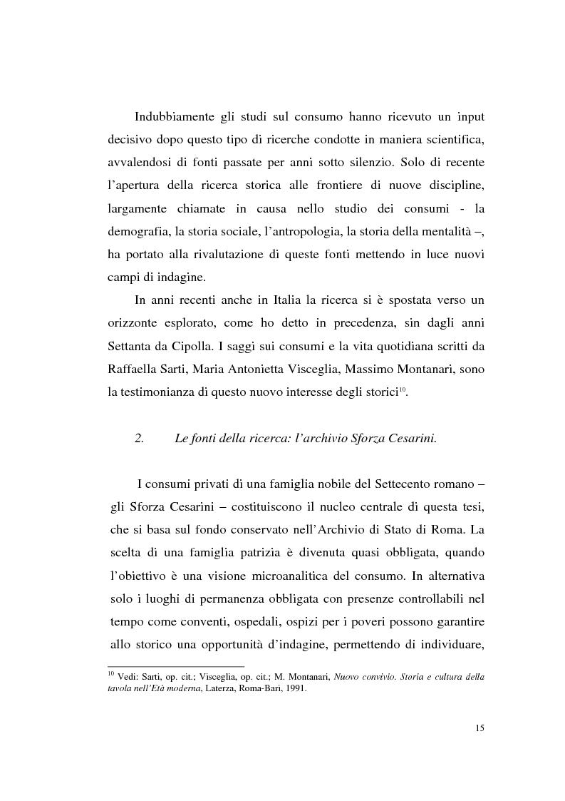 Anteprima della tesi: A tavola e a palazzo: i consumi degli Sforza Cesarini nel Settecento, Pagina 15