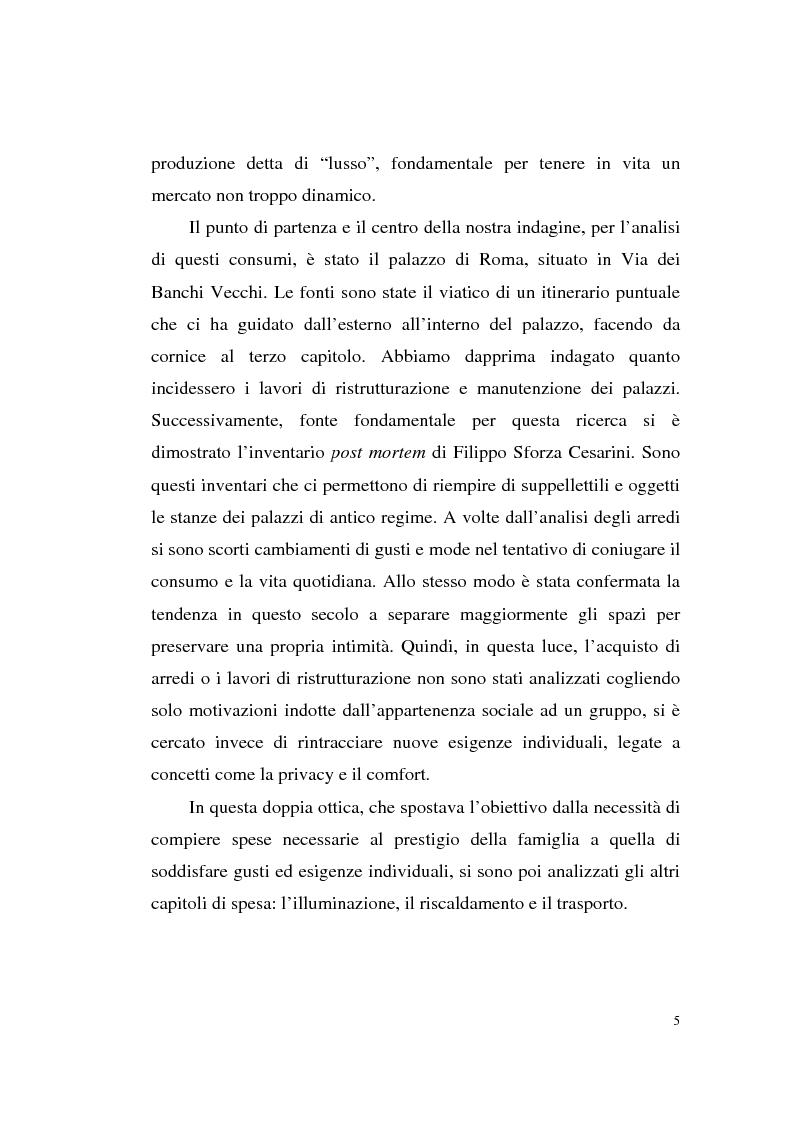 Anteprima della tesi: A tavola e a palazzo: i consumi degli Sforza Cesarini nel Settecento, Pagina 5
