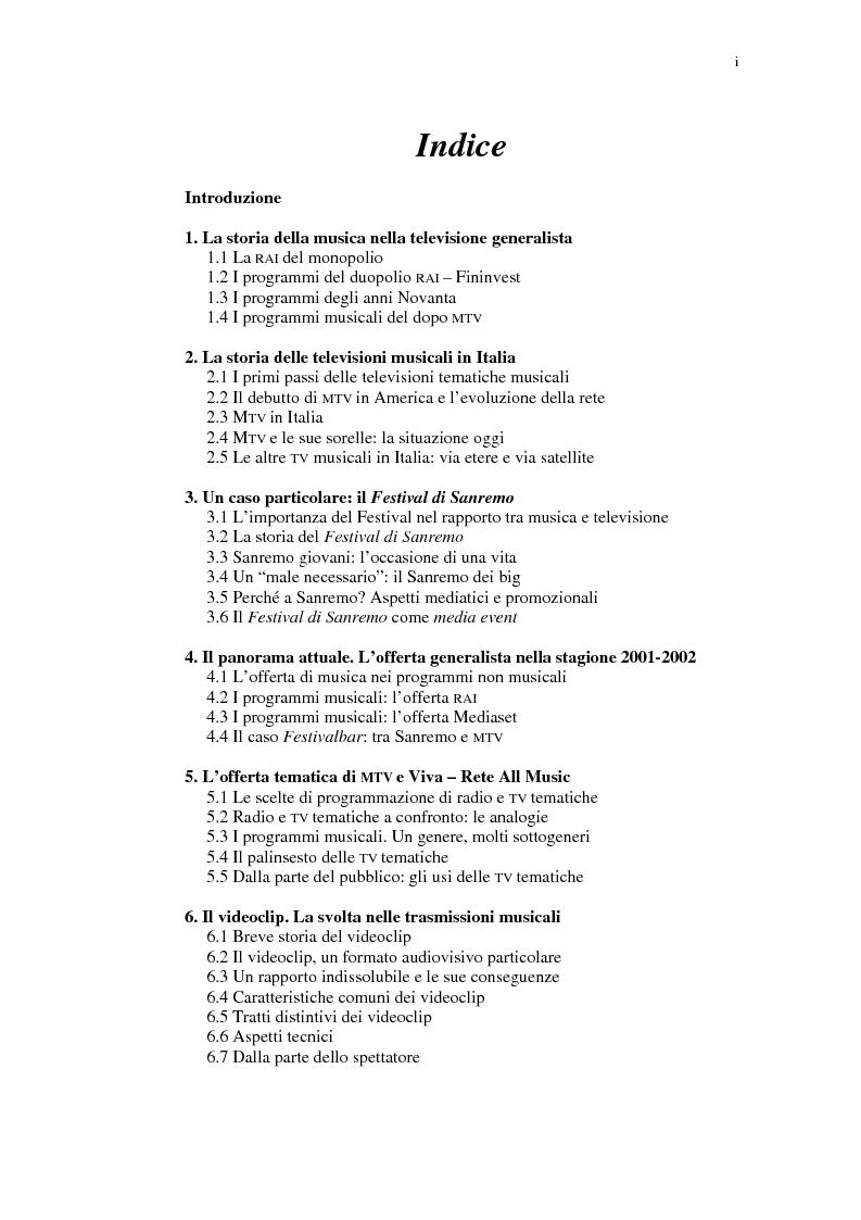 Indice della tesi: Il ruolo della televisione nella produzione e diffusione di musica in Italia, Pagina 1