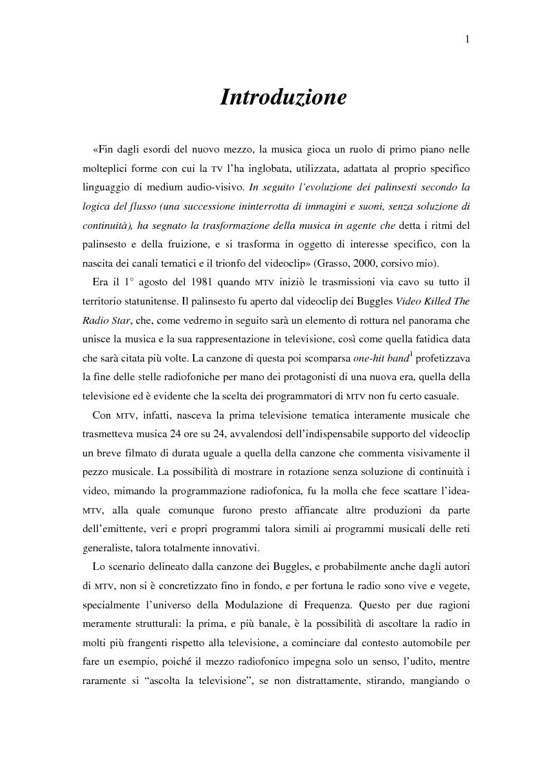 Anteprima della tesi: Il ruolo della televisione nella produzione e diffusione di musica in Italia, Pagina 1
