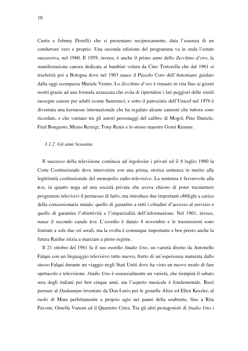 Anteprima della tesi: Il ruolo della televisione nella produzione e diffusione di musica in Italia, Pagina 10